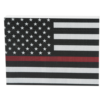 Firefighter Flag Wood Decor, White, Red, Black, 7 1/4 x 5 3/8 x 1 1/8 inches