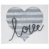 Love on Corrugated Metal Heart and Wood Wall Decor, White, 7 1/4 x 9 3/8 x 2 inches