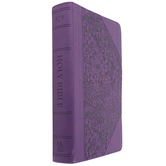 KJV Reference Bible, Giant Print, Imitation Leather, Purple, Floral Pattern