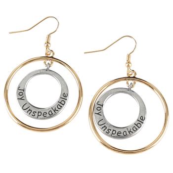 Bella Grace, 1 Peter 1:8, Joy Unspeakable Dangle Earrings, Zinc Alloy, Silver and Gold