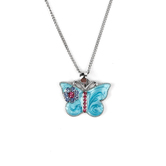 H.J. Sherman, Butterfly With CZ Stones Pendant, Rhodium Plated, 18 inches