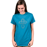 Red Letter 9, Rhinestone Cross Burst, Women's Short Sleeve T-Shirt, Teal, S-2XL