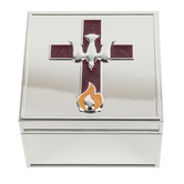 Roman, Inc., Confirmation Keepsake Box, Zinc Alloy, Silver, 3 1/4 x 3 1/4 x 2 1/8 inches