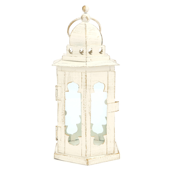 Rustic Hexagon Wedding Lantern, Distressed White, Metal and Glass, 4 1/2 x 10 inches
