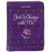 God Is Always With Me Ziparound Devotional Journal, by Belle City Gifts, Imitation Leather, Purple