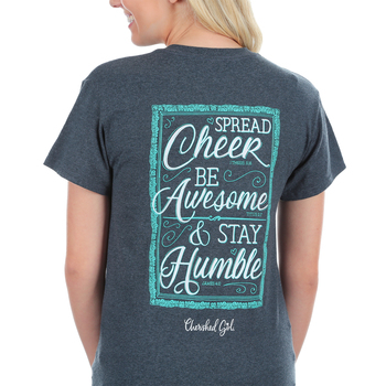 Cherished Girl, 1 Thessalonians 5:16 Spread Cheer, Short Sleeve T-Shirt, Dark Gray Heather, Small