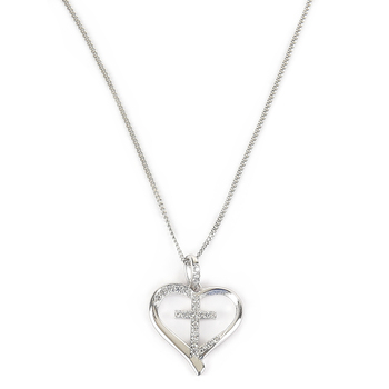 H.J. Sherman, Cubic Zirconia Heart and Cross Pendant Necklace, Sterling Silver, 18 inches