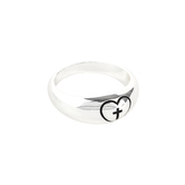 Dicksons, Dome with Engraved Heart and Cross, Women's Ring, Silver Plated, Sizes 6-9