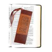 Christian Art, Steadfast Love Leather-like Bookmark, Brown and Tan, 2 x 6 inches
