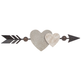 Double Heart Arrow Wall Decor, Wood and Metal, Brown, 7 7/8 x 28 3/4 x 1 7/8 inches