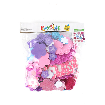Playside Creations, Foam Flower Stickers, Multi-Colored, 1 x 2 Inches, 196 Count