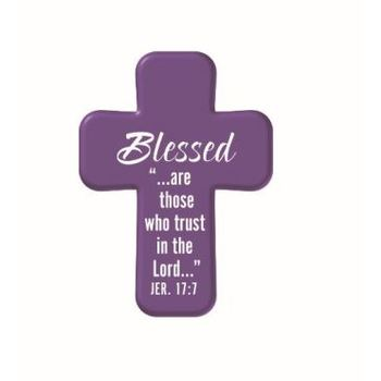 Hand Held Cross, Blessed Are Those Who Trust Jeremiah 17:7 Soft Foam Cross, Purple, 2 1/4 x 1 5/8 inches