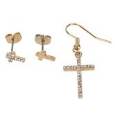 Modern Grace, Psalm 16:8 Cross Earring Set, Zinc Alloy, Gold, Set of 3