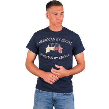 Red Letter 9, American By Birth Christian By Choice, Men's T-Shirt, Navy, M-2XL