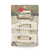 Fashion Tid Bits, Pearl Oval Hair Clips, White and Gold, 3 x 1 inches, Set of 2