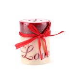 Love Printed Pillar Candle, Cranberry Apple Scent, 3 x 4 inches