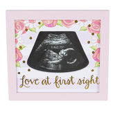 Brother Sister Design Studio, Love At First Sight Sonogram Photo Frame, Pink, 5 x 5 1/2 inches