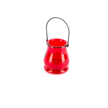 Glass Tealight Candle Holder with Handle, Red, 3 1/2 x 3 3/4 inches