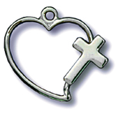 H.J. Sherman, Medium Heart with Cross Pendant Necklace, Sterling Silver, 18 Inch Chain