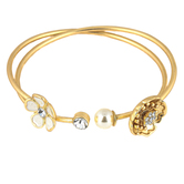 Mercy Adorned, Proverbs 8:35 Flower and Pearl Bangle Bracelet Set, Zinc Alloy, Brushed Gold, Set of 2