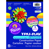 Tru-Ray® Sulphite Construction Paper Pad, 9 x 12 inches, Assorted Hot Colors, 40 Sheets