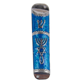 Holy Land Gifts, Messianic Seal Mezuzah, Pewter, Blue & Silver, 4 inches