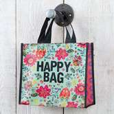 Natural Life, Happy Bag Recycled Gift Bag with Handles, Medium, Pink Floral, 9 1/2 x 8 1/4 x 4 inches