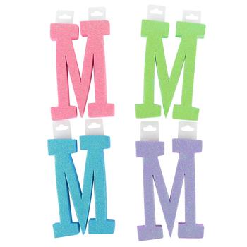 Glitter Foam Alphabet Letter Upper Case - M, 4 x 5.5 x .50 Inches, 1 Each, Assorted Colors