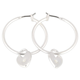 Set Free, Hoop with Heart Charm Dangle Earrings, Zinc Alloy, Brushed Silver