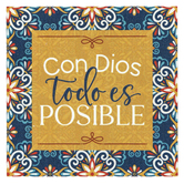 P. Graham Dunn, With God Everything Is Possible Spanish Wood Block, Pine, 4 x 4 x 3/4 inches