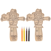 Brother Sister Design Studio, Scarecrow Coloring Wood Craft Kit, Makes 2 Scarecrows