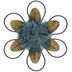 Metal Art, Metal and Burlap Blossom, Tan and Teal, 7 inches