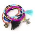 Radiant Sol, Guardian Angel Beaded Bracelet Set, Glass and Woven Cotton, Assorted Colors, 6 Pieces