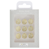 Fiddlestix Paperie, Monstera Leaf Push Pins, Metal, Gold-tone, 1/2 x 5/8 inches, Set of 9 Push Pins