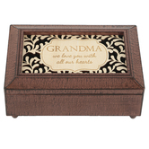 Carson Home Accents, Grandma We Love You With All Our Hearts Music Box, Wood, 4 x 6 x 2 1/2 inches
