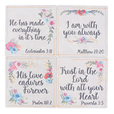 Carson Home Accents, Scripture Coaster Set, Stoneware, Floral, 4 x 4 inches, Box of 4