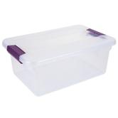 Sterilite, Clear View Latch Box, Plastic, Clear & Purple, 15 Quarts, 17 x 11 x 6 1/2 inches