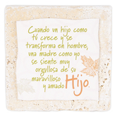 Product Concept Manufacturing, Hijo Spanish Tabletop Plaque, Natural Stone, 4 x 4 inches