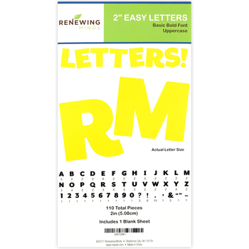 Renewing Minds, Yellow Bulletin Board Letters, Uppercase, 2 Inches, Yellow, 110 Pieces