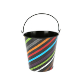 Chalk Talk Collection, Small Bucket,  4 x 4.5 Inches, Multi-Colored Stripes, 1 Piece