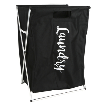Folding Laundry Basket, Metal and Canvas, Black and White, 15 1/2 x 12 1/2 x 23 inches