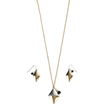 Modern Grace, Psalm 62:6 Pendant Necklace and Earring Set, Silver and Gold, 20 Inches