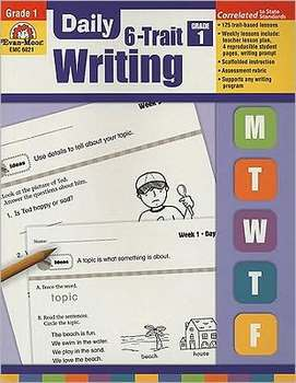 Evan-Moor, Daily 6-Trait Writing Teacher's Edition, Paperback, 160 Pages, Grade 1