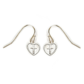 Howard's, Ear Sense, Heart with Cross Dangle Earrings, Silver, 3/8 Inches