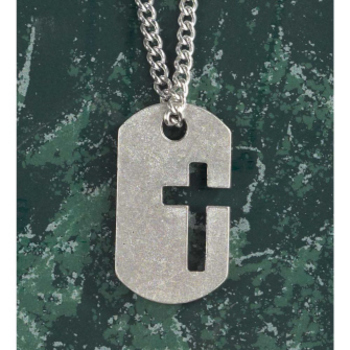 Dicksons, Dog Tag with Cutout Cross Necklace, Pewter, 24 inches
