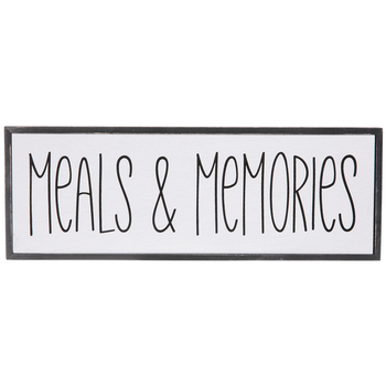Meals & Memories Wall Decor, Wood, White and Black, 14 1/16 x 5 1/16 x 1 3/8 inches