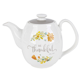 Christian Art Gifts, Colossians 3:15 Be Thankful Teapot, Ceramic, White, 5 x 9 x 6 1/4 inches