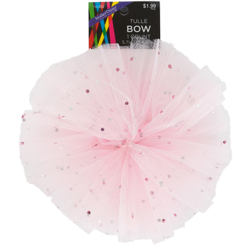 Brother Sister Design Studio, Tulle Puff Bow, Light Pink, 5 inches