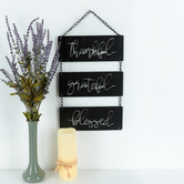 Thankful Grateful Blessed Wall Art, Metal, Black and White, 18 x 10 1/8 x 1/16 inches