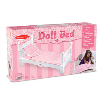 Melissa & Doug, Wooden Doll Bed, Ages 3 to 7 Years
